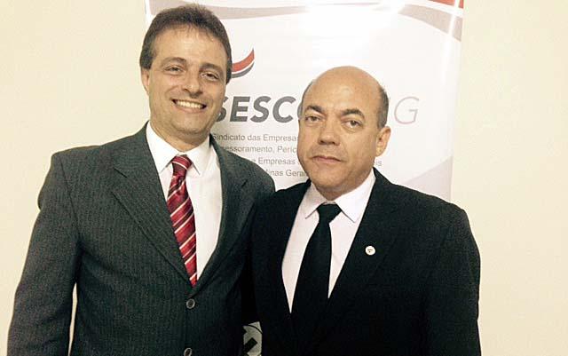 O presidente do SesconMG, Sauro Henrique de Almeida, e o diretor regional em Ipatinga, Otarcizio Dutra (Crédito: Carlos Souto)